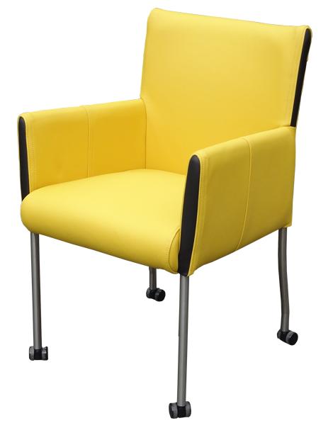 Terni design eetkamerstoel geel leer - Stoelencentrale